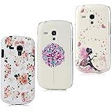 Lanveni 3x Samsung Galaxy S3 Mini i8190 Handyhülle Hardcase Schutzhüllen Shell Abdeckung Back Cover(Ballon + Mädchen Schmetterling + Rose)