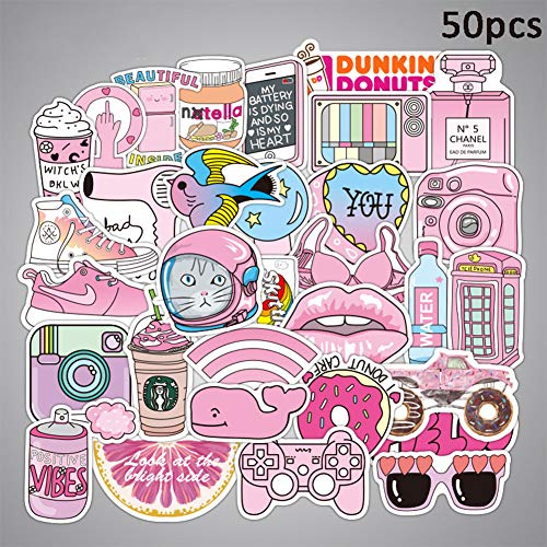 (EDTara Luggage Tags Stickers,50pcs Cute Anime Pink Girl Series Sticker Decal Label Kids Waterproof Wall Decals Gift for Cars PC IPAD Helmet Bikes Ride Patches Truck Funny Cartoon Home Decoration )