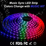 LED Light Strip, LED Strip Lights Kit Sync To Music, 16.4Ft/5M 300 Units RGB 5050 IP65 Waterproof Flexible LED Strip Lights with IR Controller for Chistmas,Holiday,Party, Home Lighting