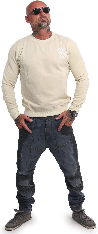 Yakuza Herren Basic Line 4W Pullover Sweater Bone White
