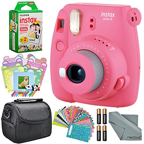 Fujifilm Instax Mini 9 Instant Film Camera (Flamingo Pink) and Accessory Package w/Frames + Stickers + Films + Case + More