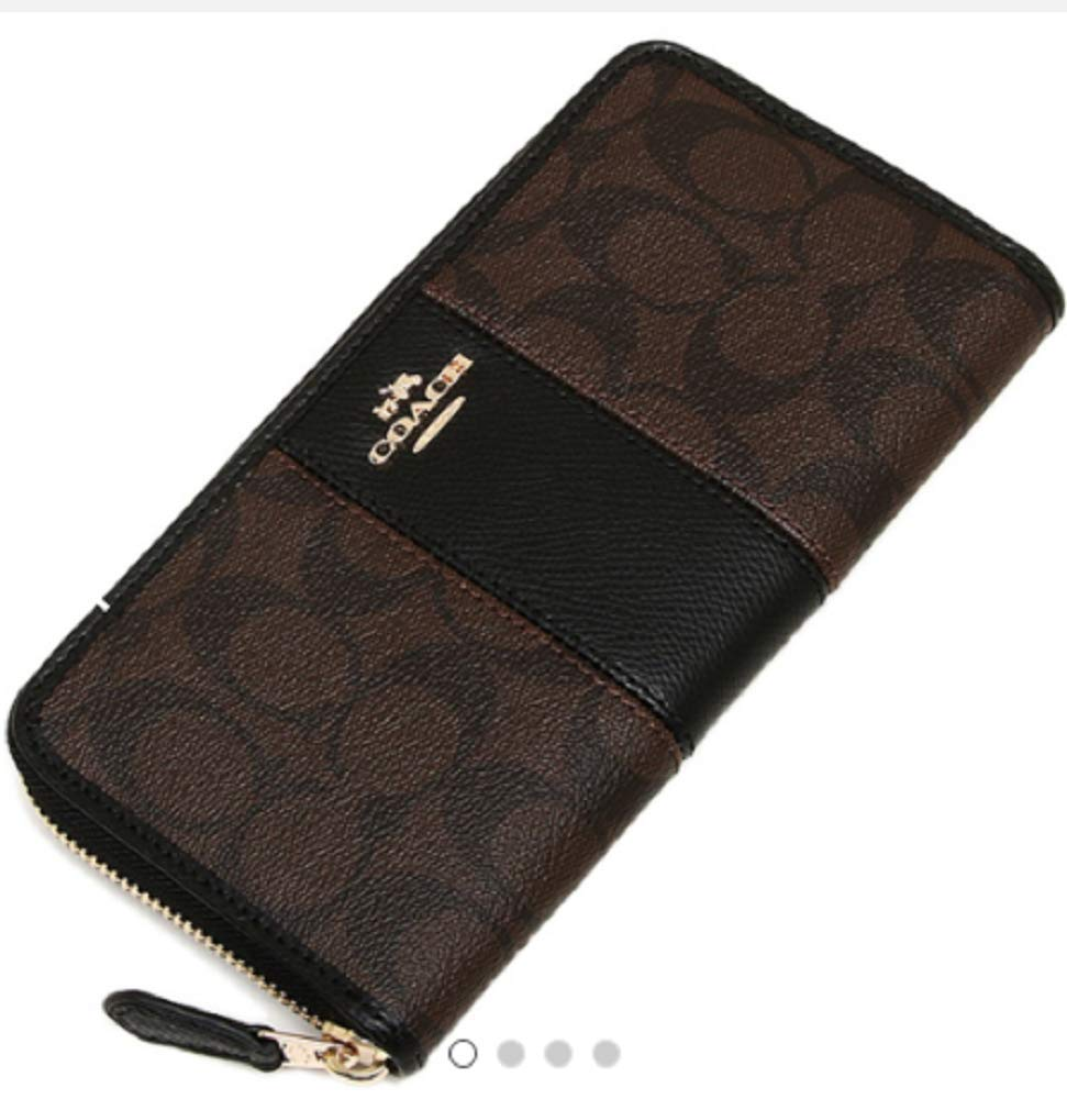 Coach F54630 Signature PVC Leather Accordion Zip Wallet Brown Black by Coach