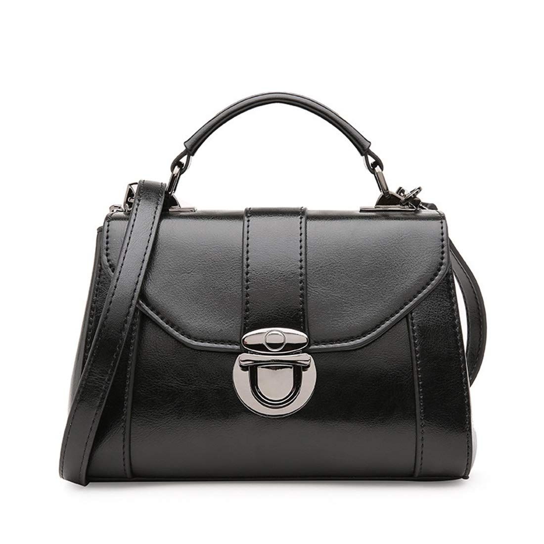 Carriemeow Simple Retro Lock Square Leather Shoulder Bag Messenger Bag Caramel Color