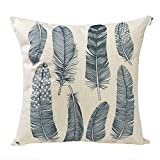Decorative Pillow Cover - Happytimelol 18 x 18 Cotton Linen Throw Pillow Case Cover (3D Feather Style 4)