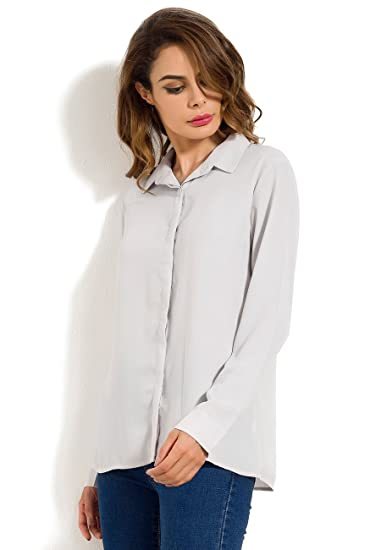 8db544be8 Nordicwinds Womens Soft Chiffon Blouse V Neck Long Sleeve Casual Button  Down Shirt