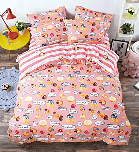 Red Donut - Bed SET 4pc Cartoon Bedding Sheet One Duvet Cover Without Comforter One Flat Sheet Two Pillowcases for Kids' Bedding Donuts Design Full Size 70