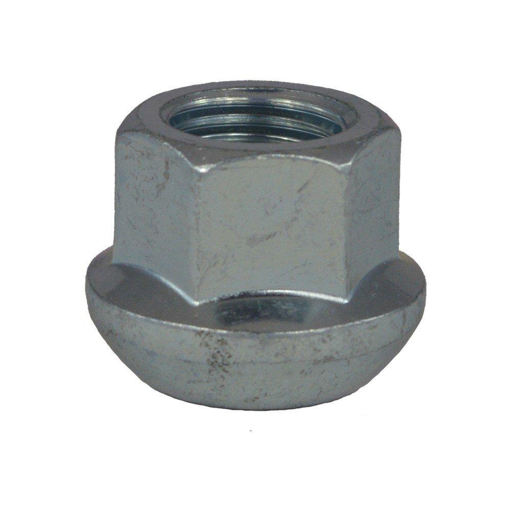 Écrou de roue ouvert M14x1.5, Assise sperique, Clé 19, Longueur 20 mm, Blanc galvanisé, 4 pcs