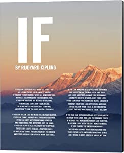 If by Rudyard Kipling - Mountain Sunset by Quote Master Canvas Art Wall Picture, Museum Wrapped with Black Sides, 16 x 20 inches