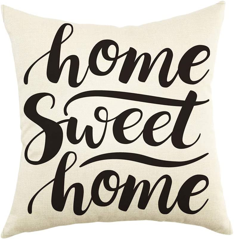 Ogiselestyle Home Sweet Home Throw Pillow Case Motivational Sign Cotton Linen Home Decorative Cushion Cover for Sofa Couch, 18