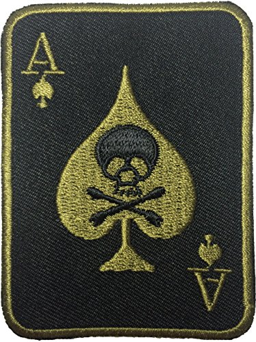 Spade Card Poker Ghost Dead Head Skull Cross Bone Embroidered Iron on Patch
