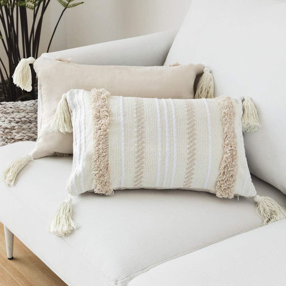 Funda de almohada borla de punto geométrico para decoración del hogar, fundas de almohada de color beige sólido tejido para sofá o silla,fundas de cojín para sofá o sala de estar 30x50
