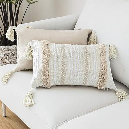 LOMOHOO - Funda de Almohada Moderna, diseño geométrico con borlas y Tejido de Color Beige, algodón, Beige, 30cmx50cm