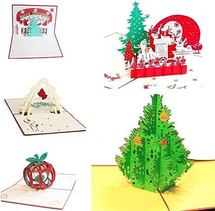 Uniqstore 5 Pack de tarjetas de Navidad 3D Pop Up Tarjetas de felicitación navideña Regalos para Navidad/Año Nuevo: Amazon.es: Oficina y papelería