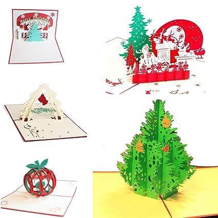 Uniqstore 5 Pack de tarjetas de Navidad 3D Pop Up Tarjetas ...