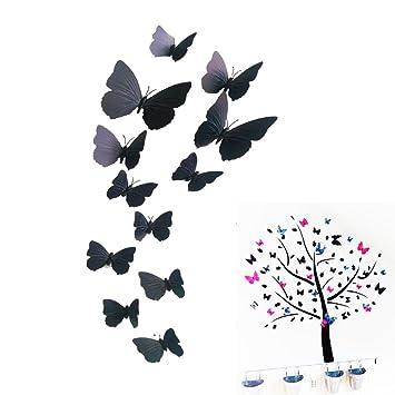 Amazon.de: Natural Home Schwarz Wandtattoo Schmetterling 3D ...