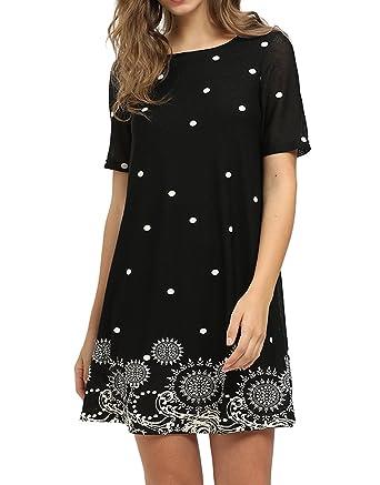 c2091e0b01 Romwe Women s Short Sleeve Floral Print Loose Casual Tunic Swing Summer  Shift Dress Black S