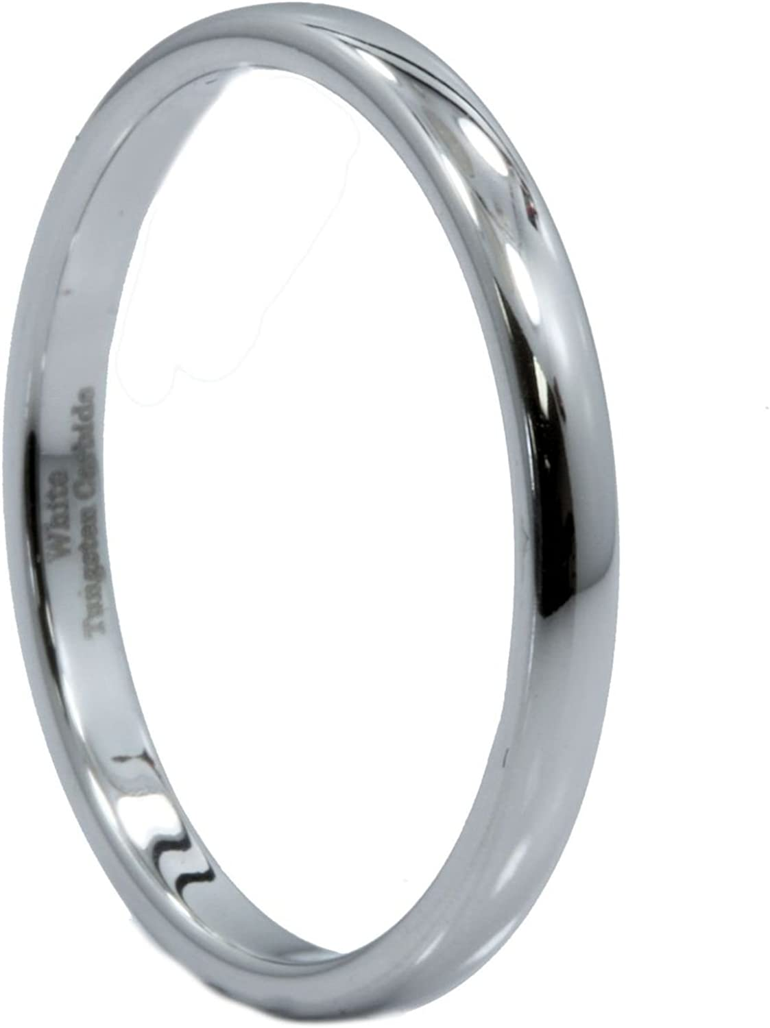 Tungsten Carbide Polished Pipe Cut Black Ring 2 mm