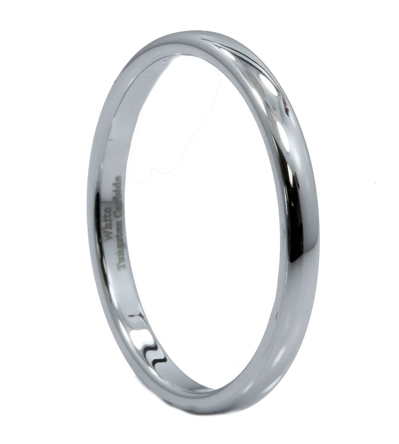 MJ Metals Jewelry 2mm to 10mm White Tungsten Carbide Mirror Polished Classic Wedding Ring WTG-174