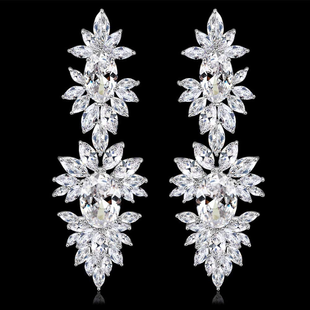 Onefeart Platinum Plated Stud Earrings For Women Marquise Cubic Zirconia Bridal Dinner Drop Earrings Chic Design 18X59.5MM White Gold