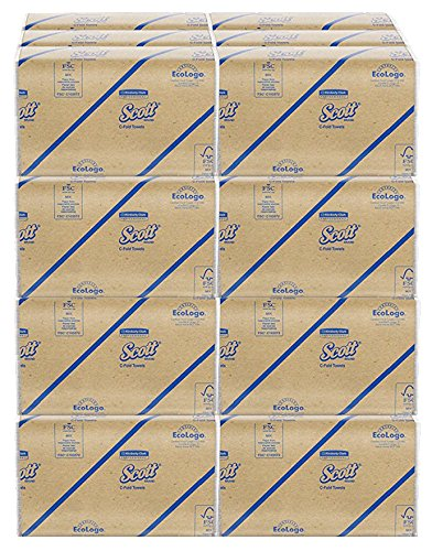 Scott C Fold Paper Towels (01510) with Fast-Drying Absorbency Pockets blAQJ, 2Units (12 Pack)