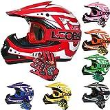Leopard LEO-X17 Childrens Kids Motocross Dirt Bike Off Road Crash Helmet & Gloves & Goggle Red/White M