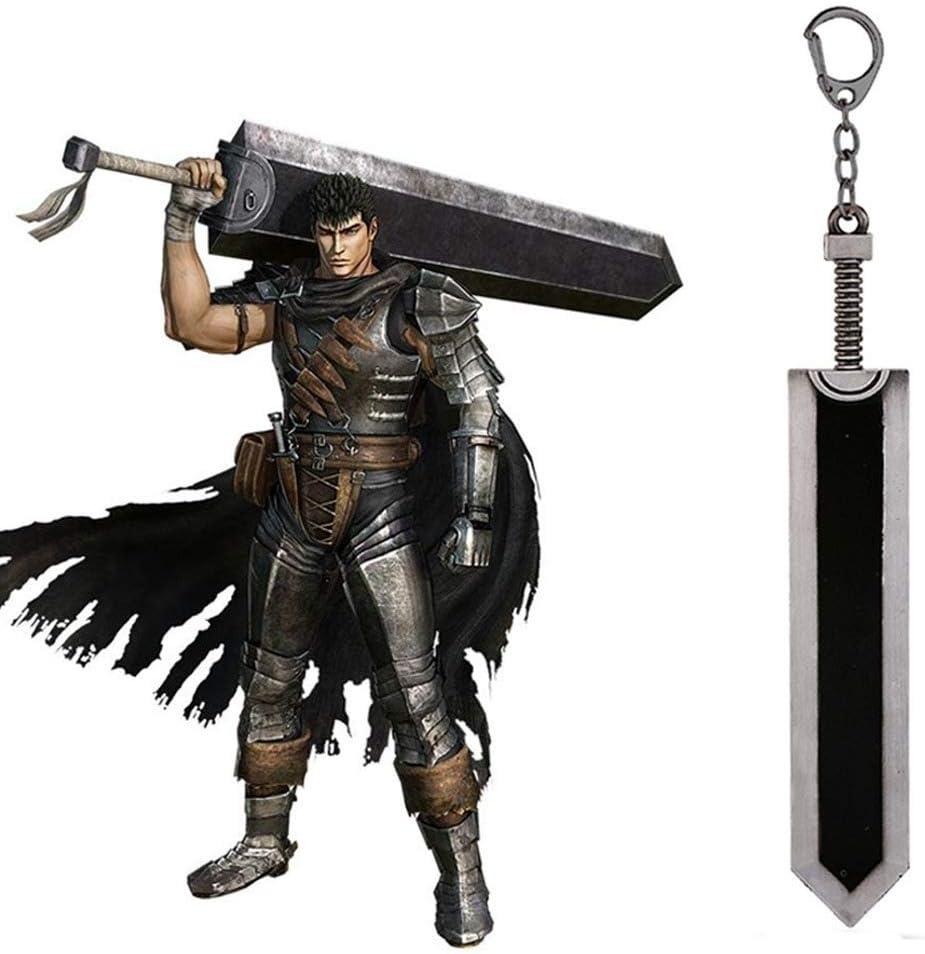 YUK Berserk Guts Leyenda Warrior - Llavero con colgante de espada de aleación de zinc, color negro