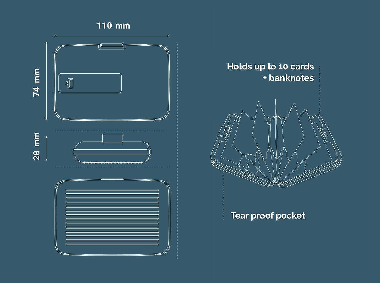 Ögon unisexe grise Holder Smart Wallet Portefeuille Stockholm aluminium argent