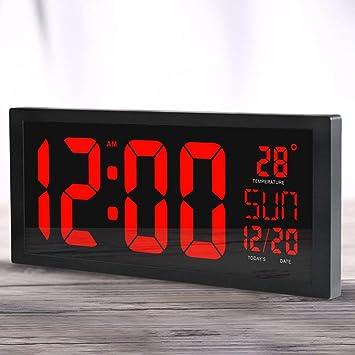 Delicacydex HD LED Reloj de Pared electrónico Sala de Estar en casa Escritorio Calendario Reloj Pantalla Grande LED Reloj electrónico - Negro: Amazon.es: ...