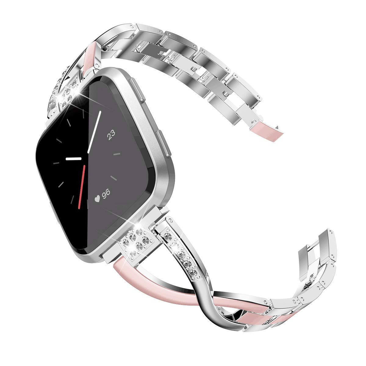 TOYOUTHS Bling Bracelet Compatible with Fitbit Versa Bands for Women Stainless Steel Wristbands Replacement for Versa Lite Special Edition Accessories Metal Strap Rose Gold+Silver Dichromatic