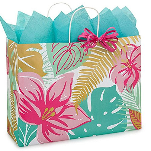 Tropical Paradise Paper Shopping Bags - Vogue Size - 16 x 6 x 12 1/2in. - 100 Pack by NW