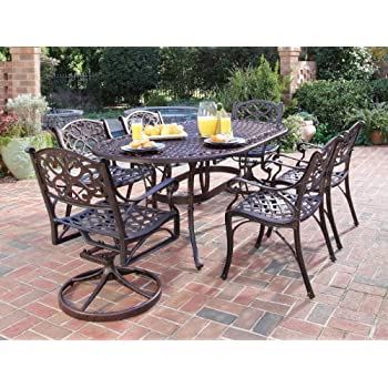 Home Styles 5555 3358 Biscayne 7 Piece Outdoor Dining Set, Rust Bronze  Finish