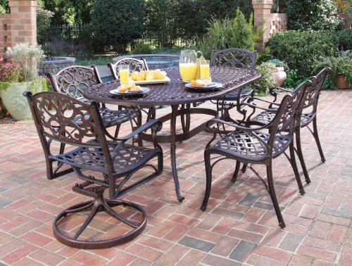 Home Styles 5555-3358 Biscayne 7-Piece Outdoor Dining Set, Rust Bronze Finish