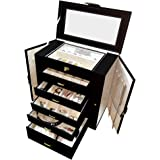 Jewelry Box ジュエリーボックスリング・ネックレス・ピアス・時計等種類別にアクセサリー収納 持ち運びもラクラク。種類別に分けて収納できるからどこに何を入れたか簡単把握/6段ジュエリーボックスブラック