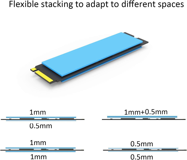 M.2 Thermal Pad con conducibilit/à Termica 2,0 W//MK per chipset GPU CPU SSD M.2 NVMe ECC 10 Packs glotrends