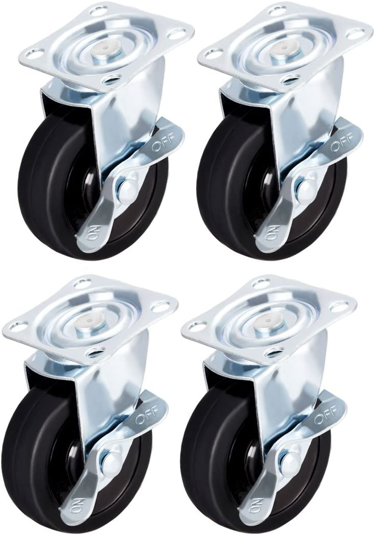 "uxcell Swivel Caster Wheels with Brake 3"" Rubber with 360 Degree Top Plate 110LBS Capacity for Furniture Carts Workbench, Black,Pack of 4"