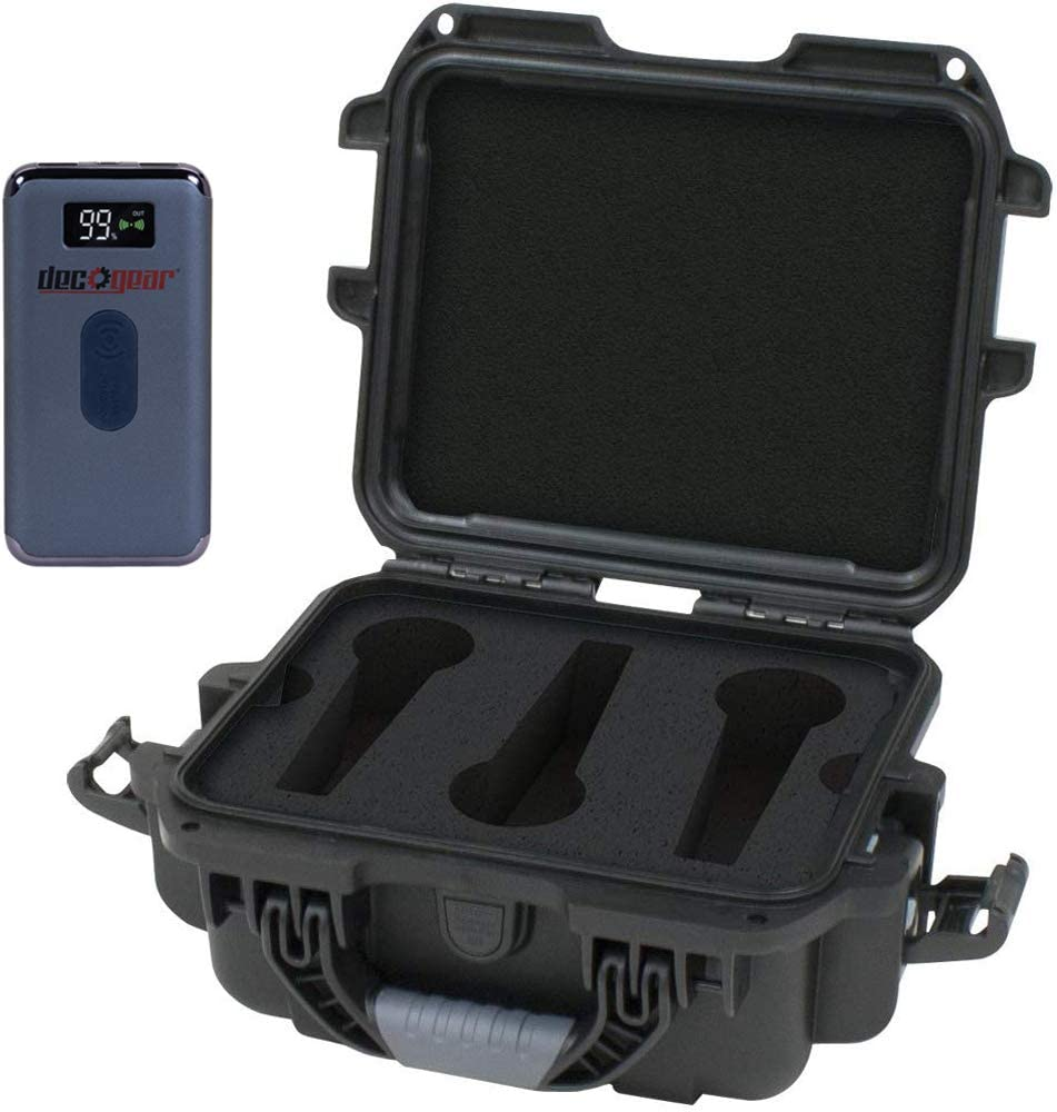 Gator GM-06-MIC-WP Waterproof Wired Microphone Case Bundle with Deco Gear Power Bank 8000 mAh Digital Display with Wireless Device Charging