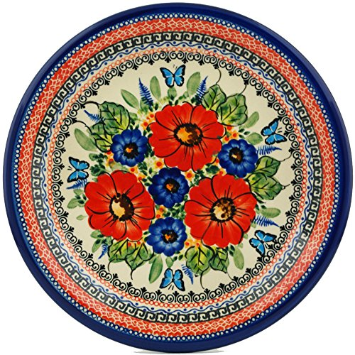 Paradise Stoneware Plates - Polish Pottery Lunch Plate 10-inch Butterfly Paradise UNIKAT