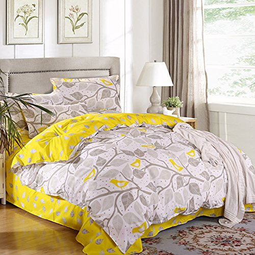 Grey and Yellow Leaves Bedding Sets Cool Bed Linen Printed Soft Sheet Set