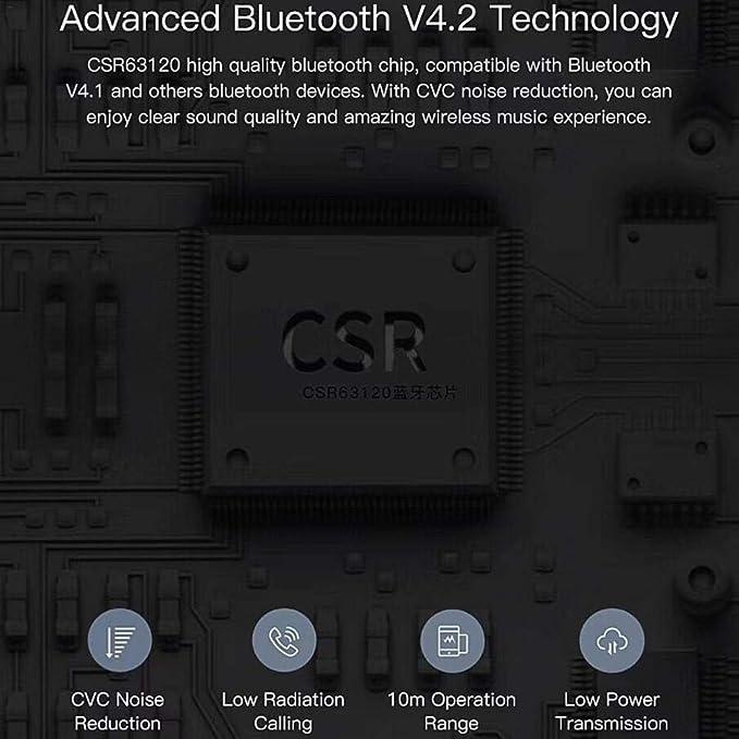 lolly-U Auriculares Bluetooth Inalámbricos,QCY T1 Pro Touch Control Auriculares inalámbricos TWS Mini con Auriculares Manos Libres de micrófono y Caja de ...