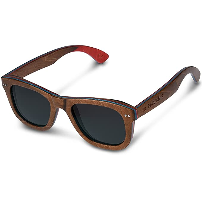 Navaris gafas de sol UV400 - Gafas de madera para hombre y mujer - Gafas de sol polarizadas moldura en color negro y lentes azul