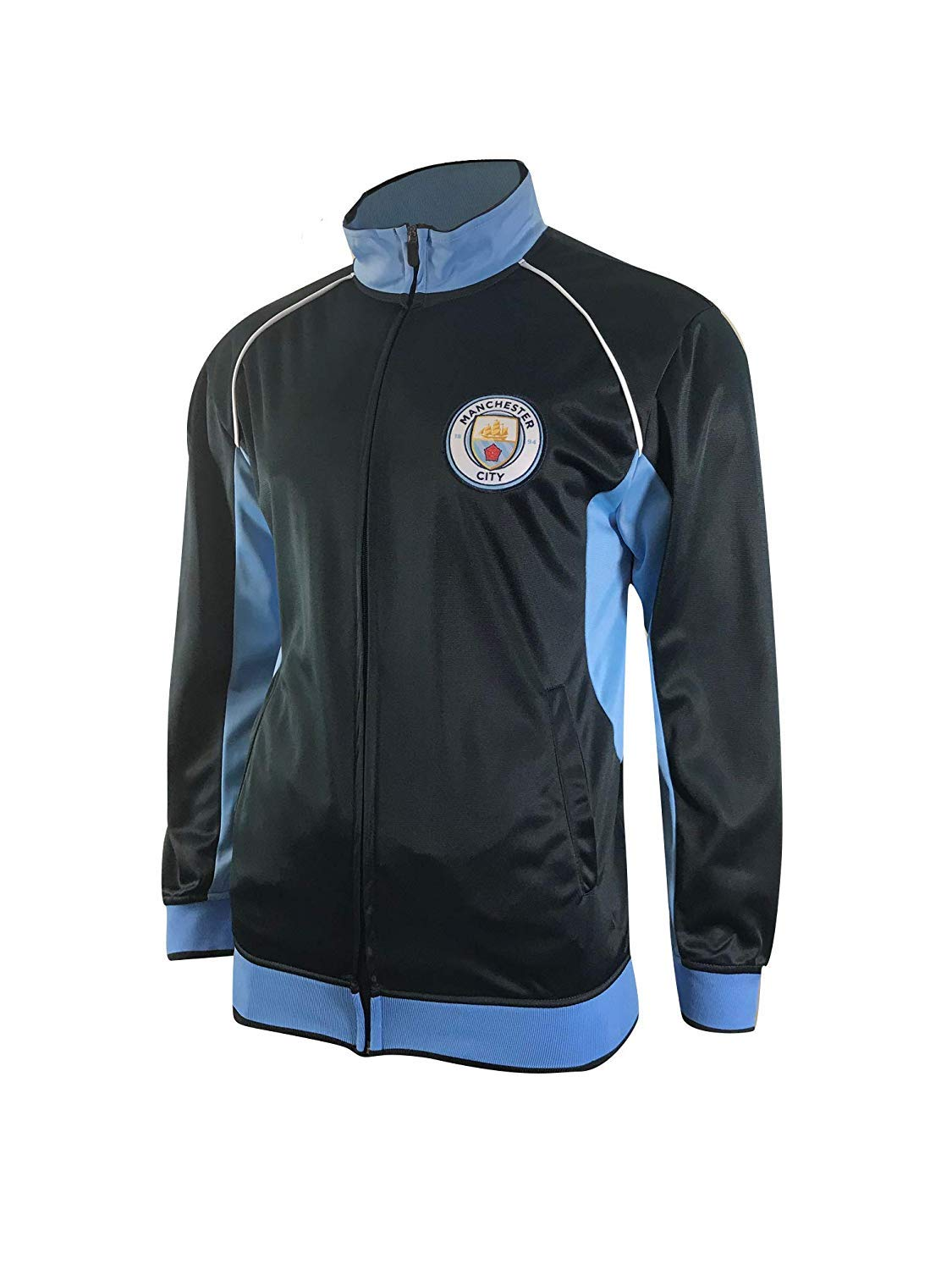 Manchester City Track Jacket Youth Boys Zip Front Soccer Football Official Merchandise (YM, Navy item# K_BB1D-02) by Isports