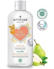 ATTITUDE Baby Leaves, Hypoallergenic Bubble Bath & Body Wash, Pear Nectar, 16 Fluid Ounce