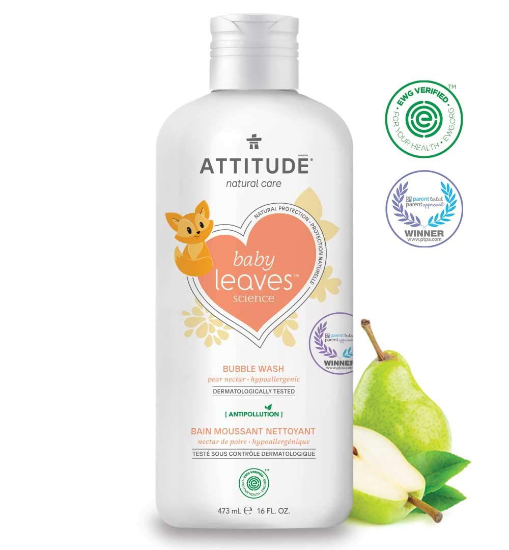 ATTITUDE Natural Baby Bubble Wash, EWG Verified, Hypoallergenic, Pear Nectar, 16 Fluid Ounce (473 mL)