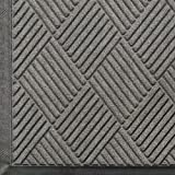 M+A Matting 208 WaterHog Classic Diamond Polypropylene Fiber Entrance Indoor/Outdoor Floor Mat, SBR Rubber Backing, 4' Length x 3' Width, 3/8'' Thick, Medium Grey