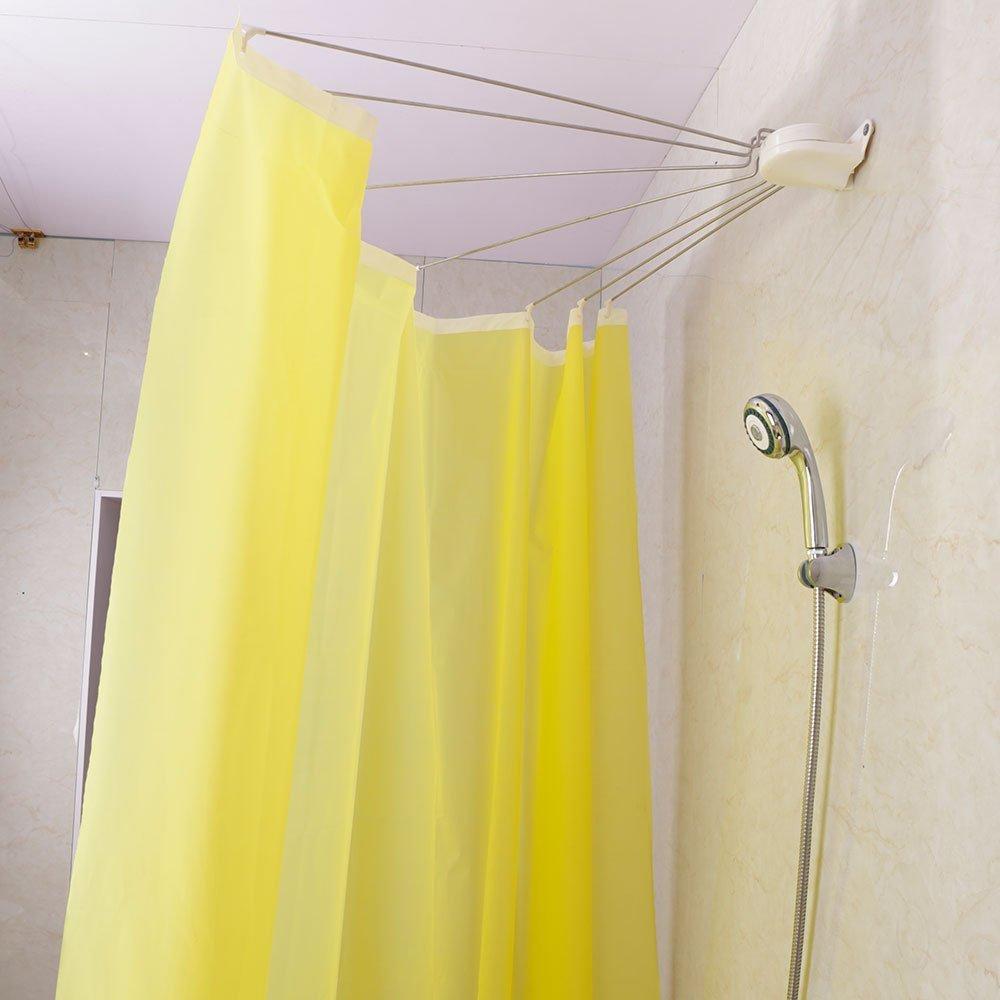 Baoyouni Bathroom U Shaped Corner Shower Curtain Rod Pole Decorative Curved Bath Rail Bar With