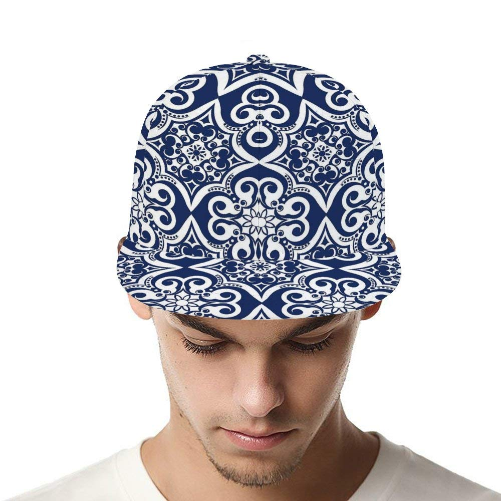 Dongi Navy Blue Moroccan Tile Pattern Unisex Full-Print Flat Rubber Ball Cap can Adjust Hip-hop Style