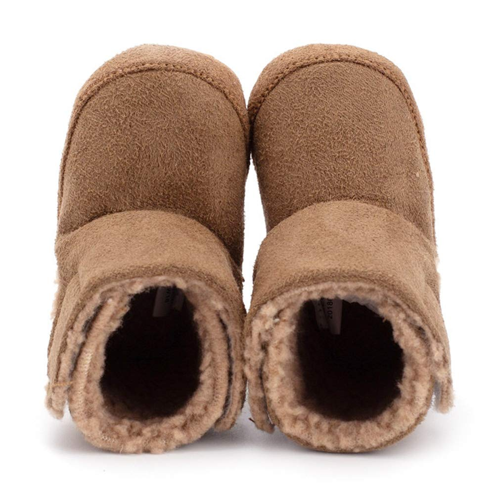 Infant Baby Boys Girls First Walker Shoes Suede Faux-Fur Lined Warm Winter Snow Boots Prewalker Crib Shoes