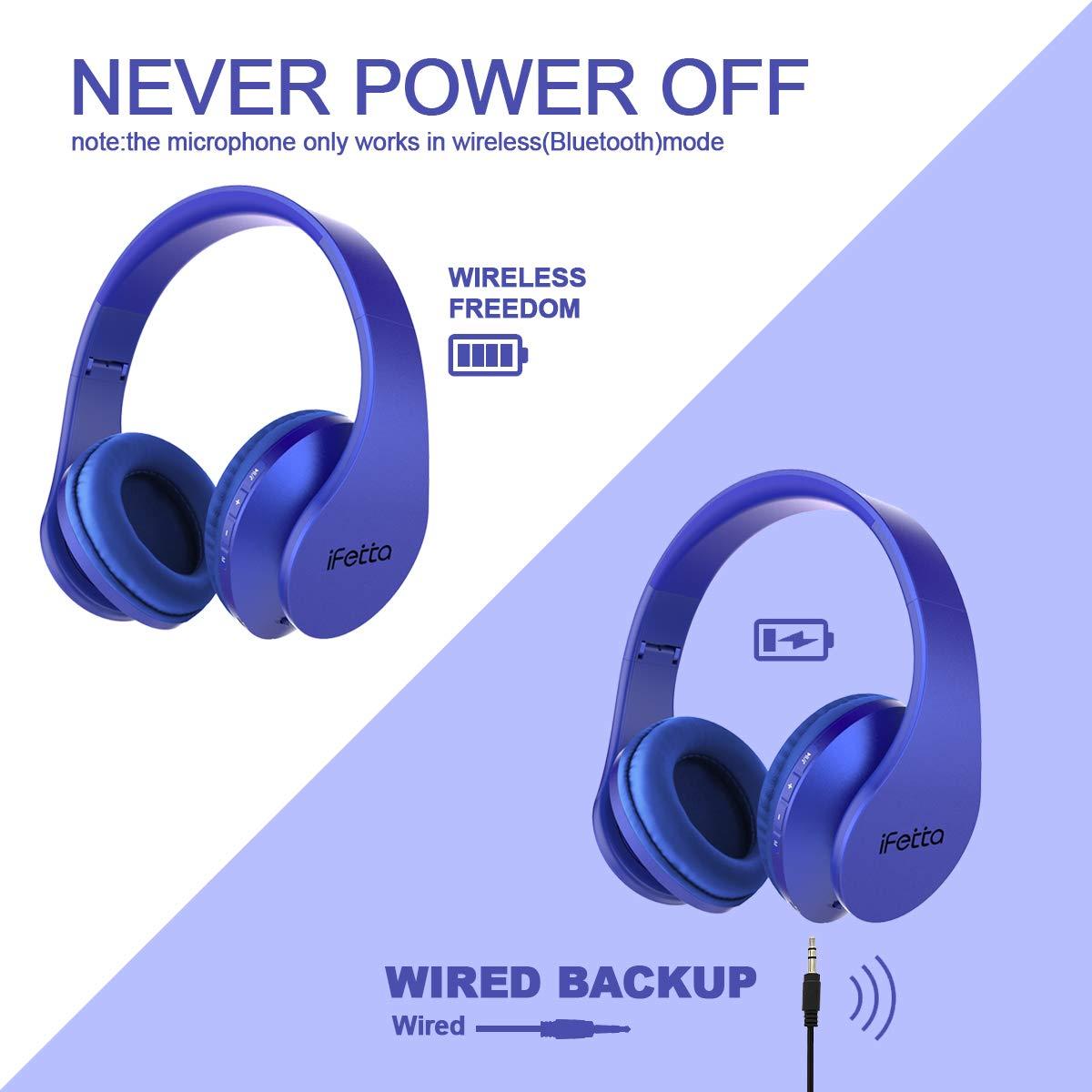 Bluetooth Kopfhörer, Ifecco Bluetooth Headset Wirless Ohrpolster Kopfhörer, Stereo-Headset Sport Hörer Kompatibel mit Allen Gängigen Smartphones/Tablets/Notebooks (blau)