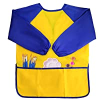 Jutoe 1 Pack Kids Art Smock for Kids 4-6, Children Waterproof Art Smock for Kids Painting Feeding,Long Sleeve with 3 Roomy Pockets Toddler Aprons, for Age 2-6 Years Gifts