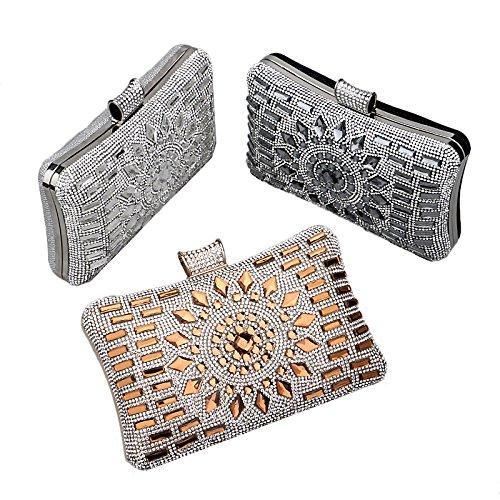ruiio Fashion Lady Diamond Lujo noche bolso monedero de boda bolsas de maquillaje bolsa bolso de mano, negro dorado